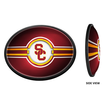 USC Trojans Slimline Illuminated LED Team Spirit Wall Sign-Oval Horizontal-Interlocking SC | Grimm Industries |US-140-01