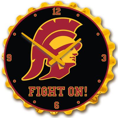 USC Trojans Team Spirit Bottle Cap Wall Clock-Trojan | Grimm Industries |US-540-04