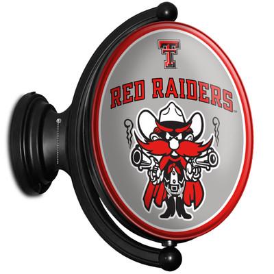 Texas Tech Red Raiders Rotating Illuminated LED Team Spirit Wall Sign-Oval-Raider Red | Grimm Industries |TT-125-03
