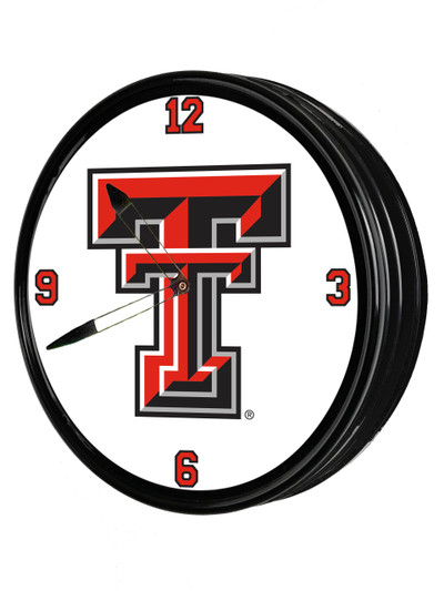 Texas Tech Red Raiders 19 inch Illuminated LED Team Spirit Clock-Primary Logo | Grimm Industries |TT-550-01