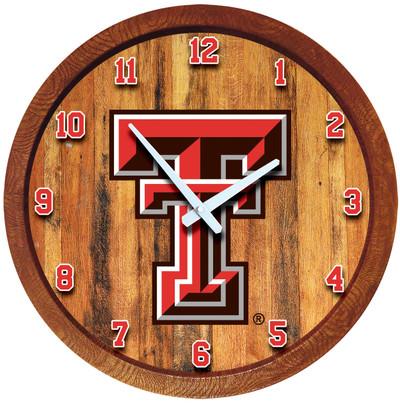 Texas Tech Red Raiders 20 inch Barrel Team Logo Wall Clock-Primary Logo-Color | Grimm Industries |TT-560-01