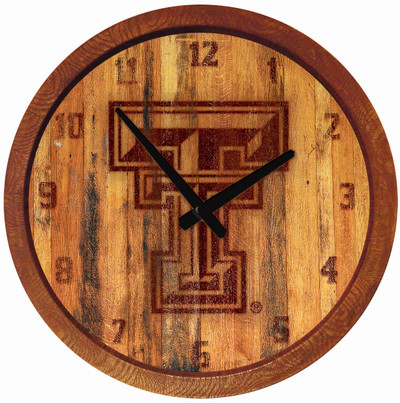 Texas Tech Red Raiders 20 inch Barrel Team Logo Wall Clock-Primary Logo-Branded | Grimm Industries |TT-560-02