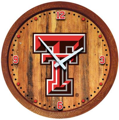 Texas Tech Red Raiders 20 inch Barrel Team Logo Wall Clock-Primary Logo-Color 2 | Grimm Industries |TT-560-04