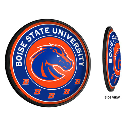 Boise State Broncos Slimline Illuminated LED Team Spirit Wall Sign-Round-Primary Logo-Orange | Grimm Industries |BS-130-02
