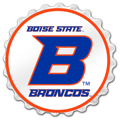 Boise State Broncos Team Spirit Bottle Cap Wall Sign-Academic B on White | Grimm Industries |BS-210-01
