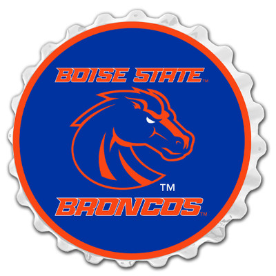 Boise State Broncos Team Spirit Bottle Cap Wall Sign- on White | Grimm Industries |BS-210-02