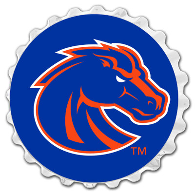 Boise State Broncos Team Spirit Bottle Cap Wall Sign-Primary Logo on White | Grimm Industries |BS-210-03