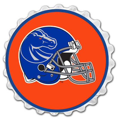 Boise State Broncos Team Spirit Bottle Cap Wall Sign-Helmet on White | Grimm Industries |BS-210-04