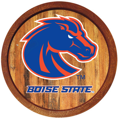Boise State Broncos 20 inch Barrel Team Logo Wall Sign-Primary Logo-Color | Grimm Industries |BS-240-01