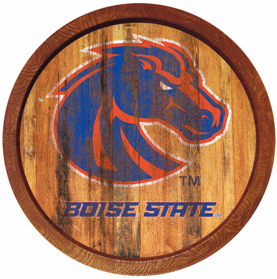 Boise State Broncos 20 inch Barrel Team Logo Wall Sign-Primary Logo-Weathered | Grimm Industries |BS-240-03