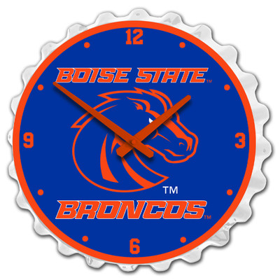 Boise State Broncos Team Spirit Bottle Cap Wall Clock- on White | Grimm Industries |BS-540-02