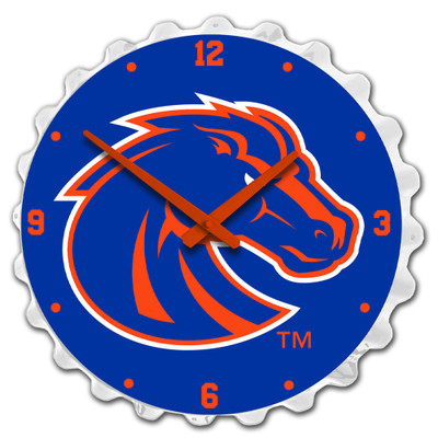 Boise State Broncos Team Spirit Bottle Cap Wall Clock-Primary Logo on White | Grimm Industries |BS-540-03