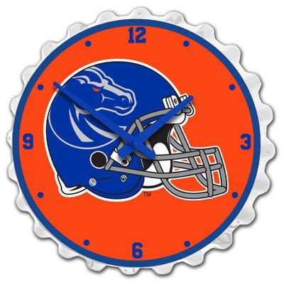 Boise State Broncos Team Spirit Bottle Cap Wall Clock-Helmet on White | Grimm Industries |BS-540-04