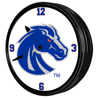 Boise State Broncos 19 inch Illuminated LED Team Spirit Clock-Primary Logo Gray | Grimm Industries |BS-550-02