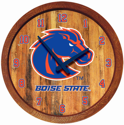 Boise State Broncos 20 inch Barrel Team Logo Wall Clock-Primary Logo-Color | Grimm Industries |BS-560-01