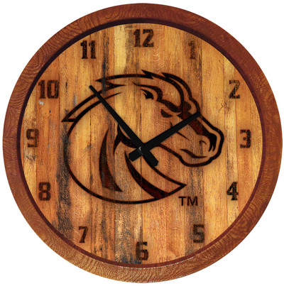 Boise State Broncos 20 inch Barrel Team Logo Wall Clock-Primary Logo-Branded | Grimm Industries |BS-560-02