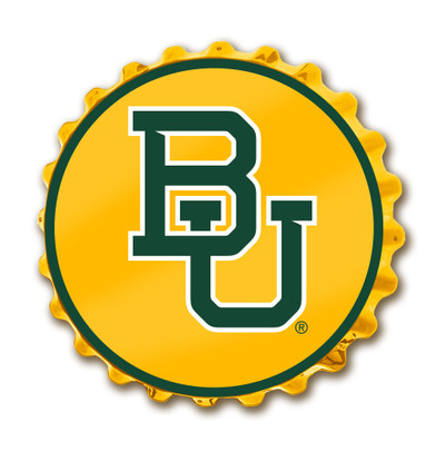 Baylor Bears Team Spirit Bottle Cap Wall Sign-Primary Logo on Yellow | Grimm Industries |BA-210-01