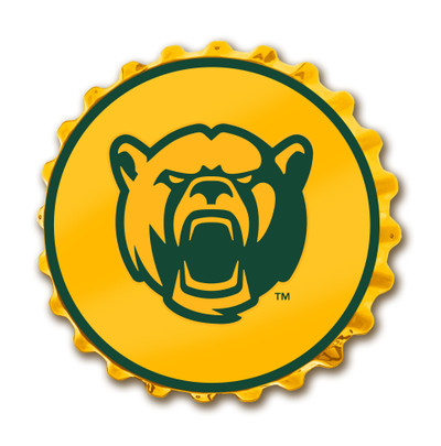 Baylor Bears Team Spirit Bottle Cap Wall Sign-Bear on Yellow | Grimm Industries |BA-210-02