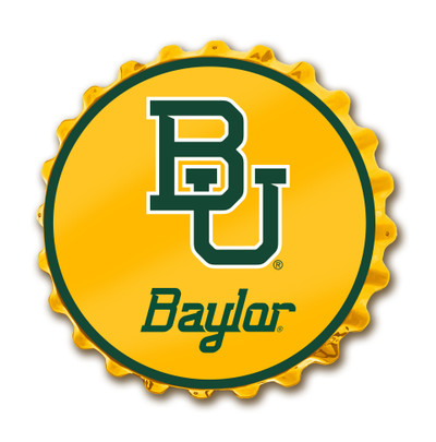 Baylor Bears Team Spirit Bottle Cap Wall Sign-Baylor Script on Yellow | Grimm Industries |BA-210-03