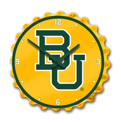 Baylor Bears Team Spirit Bottle Cap Wall Clock-Primary Logo on Yellow | Grimm Industries |BA-540-01