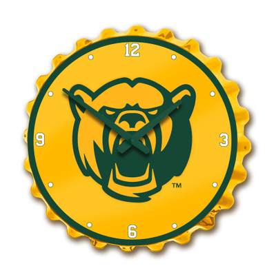 Baylor Bears Team Spirit Bottle Cap Wall Clock-Bear on Yellow | Grimm Industries |BA-540-02