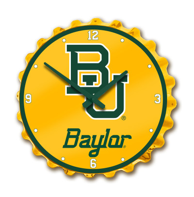 Baylor Bears Team Spirit Bottle Cap Wall Clock-Baylor Script on Yellow | Grimm Industries |BA-540-03