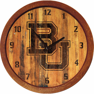 Baylor Bears 20 inch rrel Team Logo Wall Clock-Primary Logo-Branded | Grimm Industries |BA-560-02