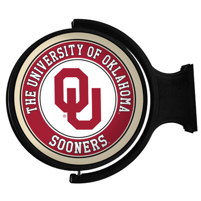 Oklahoma Sooners Rotating Illuminated LED Team Spirit Wall Sign-Round-Primary Logo | Grimm Industries |OK-115-01