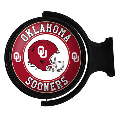 Oklahoma Sooners Rotating Illuminated LED Team Spirit Wall Sign-Round-Helmet | Grimm Industries |OK-115-03