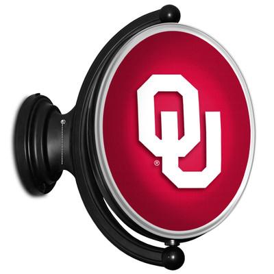 Oklahoma Sooners Rotating Illuminated LED Team Spirit Wall Sign-Oval-Primary Logo | Grimm Industries |OK-125-01