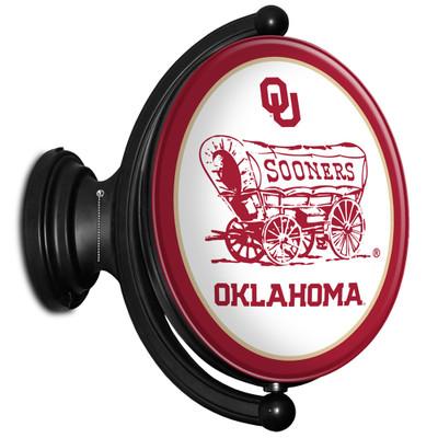 Oklahoma Sooners Rotating Illuminated LED Team Spirit Wall Sign-Oval-Sooners | Grimm Industries |OK-125-02