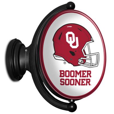 Oklahoma Sooners Rotating Illuminated LED Team Spirit Wall Sign-Oval-Boomer Sooner | Grimm Industries |OK-125-03