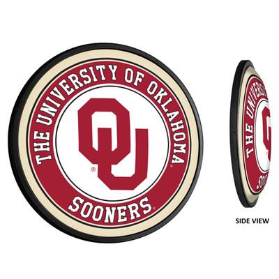 Oklahoma Sooners Slimline Illuminated LED Team Spirit Wall Sign-Round-Primary Logo | Grimm Industries |OK-130-01