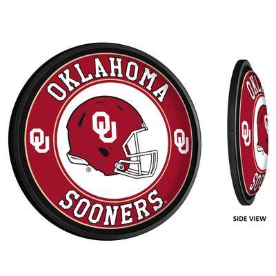 Oklahoma Sooners Slimline Illuminated LED Team Spirit Wall Sign-Round-Helmet | Grimm Industries |OK-130-03