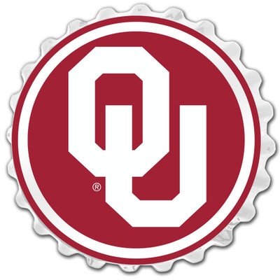 Oklahoma Sooners Team Spirit Bottle Cap Wall Sign-Primary Logo on Red | Grimm Industries |OK-210-02