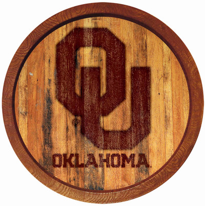 Oklahoma Sooners 20 inchBarrel Team Logo Wall Sign-Primary Logo-Branded | Grimm Industries |OK-240-02