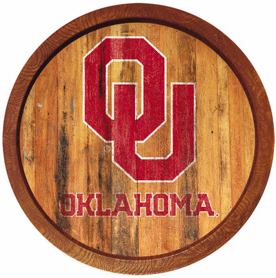 Oklahoma Sooners 20 inchBarrel Team Logo Wall Sign-Primary Logo-Weathered | Grimm Industries |OK-240-03