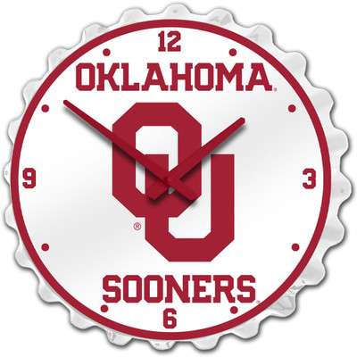 Oklahoma Sooners Team Spirit Bottle Cap Wall Clock-Primary Logo | Grimm Industries |OK-540-01