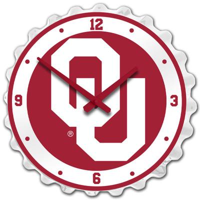 Oklahoma Sooners Team Spirit Bottle Cap Wall Clock-Primary Logo Red | Grimm Industries |OK-540-02