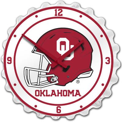 Oklahoma Sooners Team Spirit Bottle Cap Wall Clock-Helmet | Grimm Industries |OK-540-03