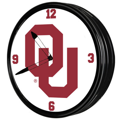 Oklahoma Sooners 19 inch Illuminated LED Team Spirit Clock-Primary Logo | Grimm Industries |OK-550-01