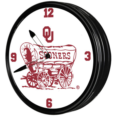 Oklahoma Sooners 19 inch Illuminated LED Team Spirit Clock-Secondary Logo | Grimm Industries |OK-550-02