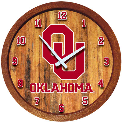 Oklahoma Sooners 20 inch Barrel Team Logo Wall Clock-Primary Logo-Color | Grimm Industries |OK-560-01