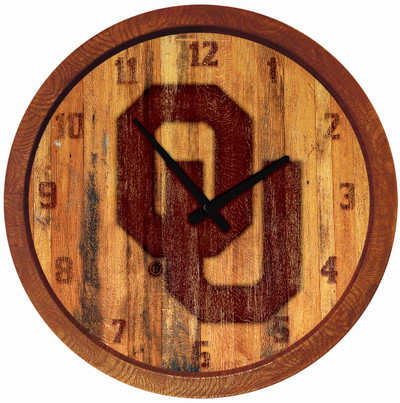 Oklahoma Sooners 20 inch Barrel Team Logo Wall Clock-Primary Logo-Branded | Grimm Industries |OK-560-02
