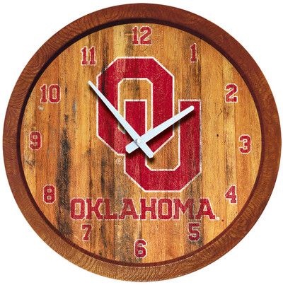 Oklahoma Sooners 20 inch Barrel Team Logo Wall Clock-Primary Logo-Weathered | Grimm Industries |OK-560-03