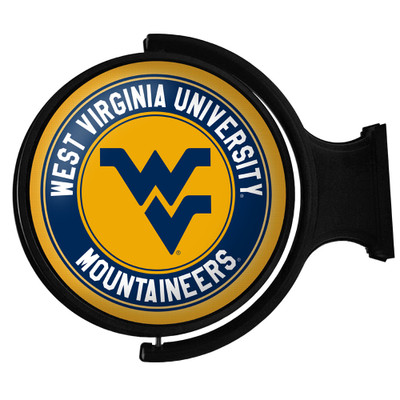 West Virginia Mountaineers Rotating Illuminated LED Team Spirit Wall Sign-Round-Primary Logo | Grimm Industries |WV-115-01