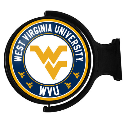 West Virginia Mountaineers Rotating Illuminated LED Team Spirit Wall Sign-Round-Primary Logo 2 | Grimm Industries |WV-115-03