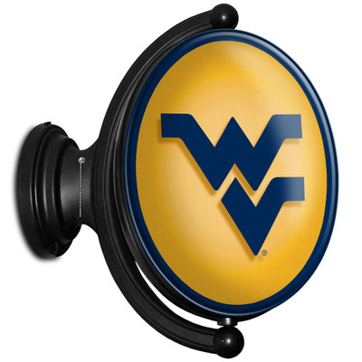 West Virginia Mountaineers Rotating Illuminated LED Team Spirit Wall Sign-Oval-Primary Logo | Grimm Industries |WV-125-01