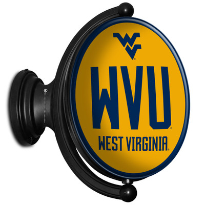 West Virginia Mountaineers Rotating Illuminated LED Team Spirit Wall Sign-Oval-WVU | Grimm Industries |WV-125-02