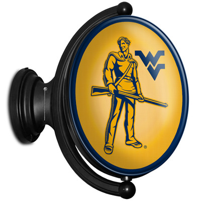 West Virginia Mountaineers Rotating Illuminated LED Team Spirit Wall Sign-Oval-Mountaineers | Grimm Industries |WV-125-03